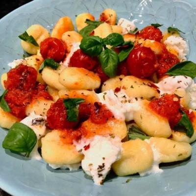 Gnocchi with Buffalo Mozzarella and Whole Cherry Tomatoes Sauce