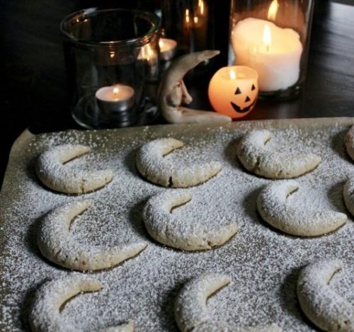 Almond Moon Spell Cookies on a sheet pan
