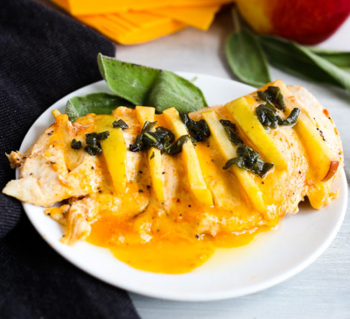 Apple Stuffed Chicken with Sage Sauceon a plate