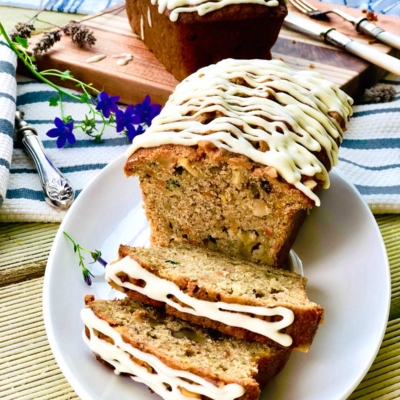 Apple, Carrot and Courgette (Zucchini) Cake with Ginger and Turmeric