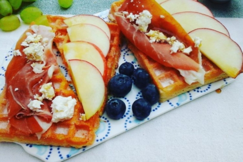 Breakfast Waffles topped with Prosciutto, Apples, Feta Cheese & Maple Syrup