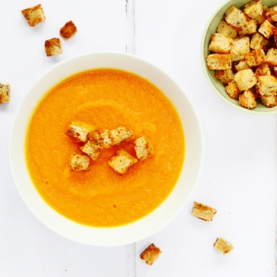 Carrot and Ginger Soup with Marmite Croutons