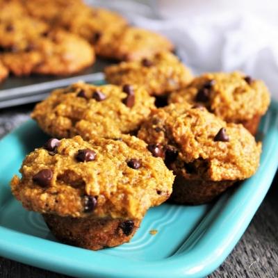 Chocolate Chip Pumpkin Muffins on a plate