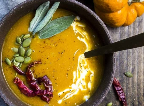 Coconut Curry Pumpkin Soup in a bowl