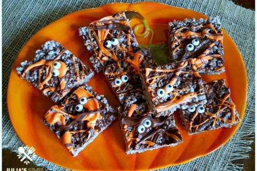 Death by Chocolate Halloween Krispie Treats on a plate