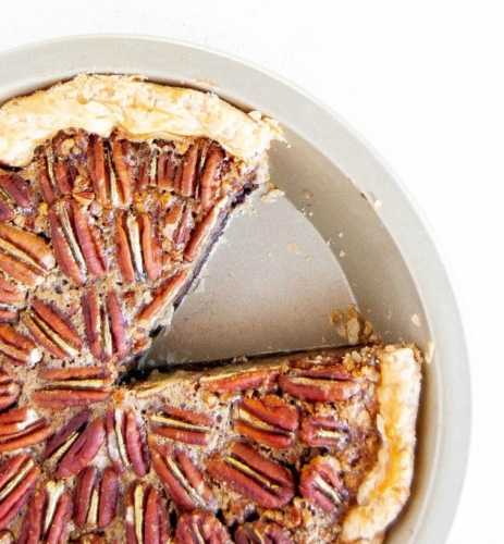 Easy Chocolate Pecan Pie in a pie plate