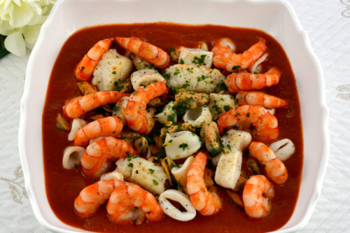 Fish and Seafood Stew in a bowl