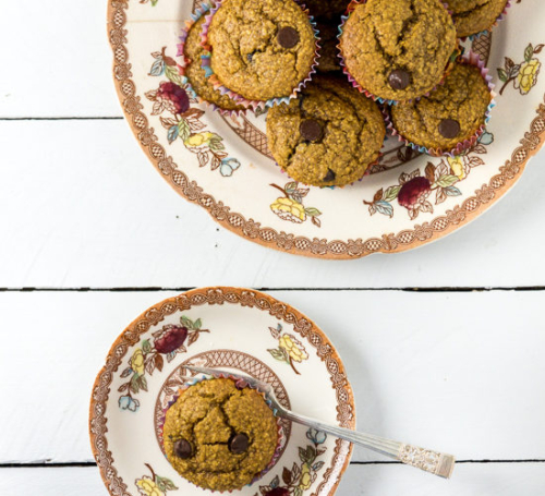 Healthy Pumpkin Muffins with Oats and Chocolate Chips on plates