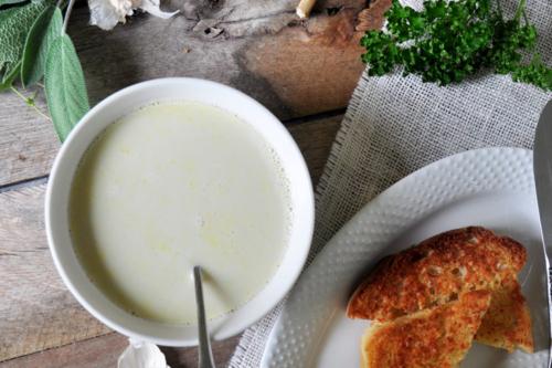 a bowl of Julia Child's Garlic Soup