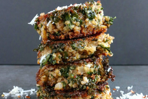 stacked Kale and Quinoa Patties
