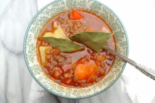 Lentil Soup (Fakes Soupa) in a bowl