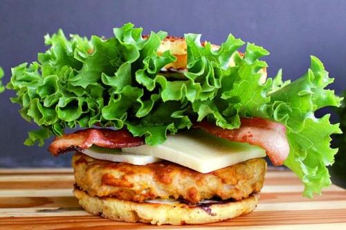 Low Carb Turkey Burger on butcher block