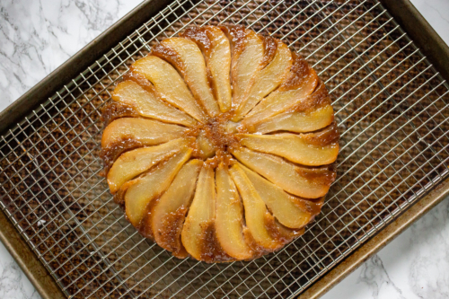 Pear-Walnut Upside-Down Cake on a cooling rack