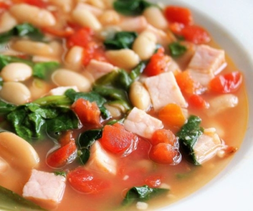 Quick-and-Easy White Bean and Baby Greens Stew in a bowl