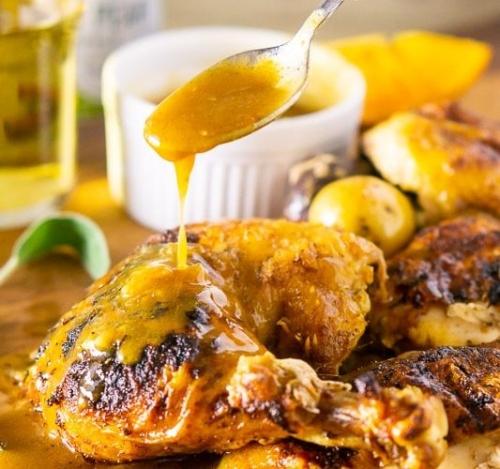 Roasted Apple Cider Spatchcock Chicken