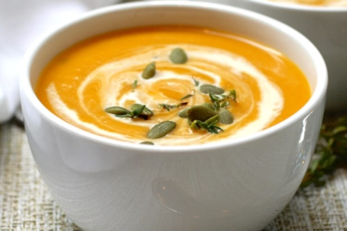 Roasted Butternut Squash and Apple Soup in a bowl