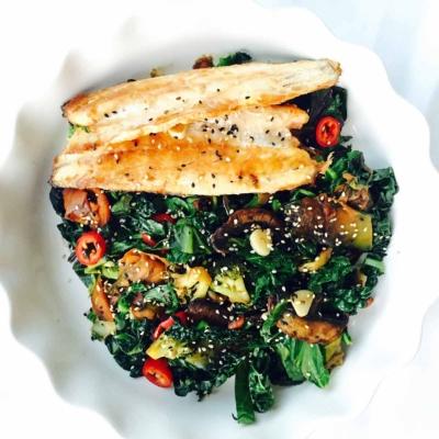 Cavolo Nero and Kale Sea Bass Stir Fry
