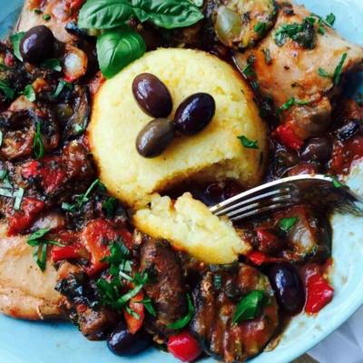 Mixed Grilled Veggies, Polenta and Chicken Casserole