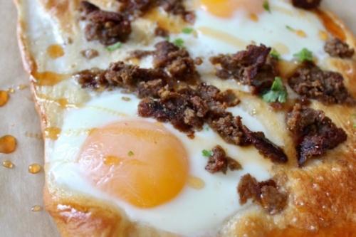 Breakfast Tart with a sunnyside egg