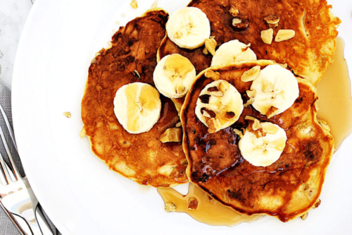 Banana Walnut Pancakes with maple syrup