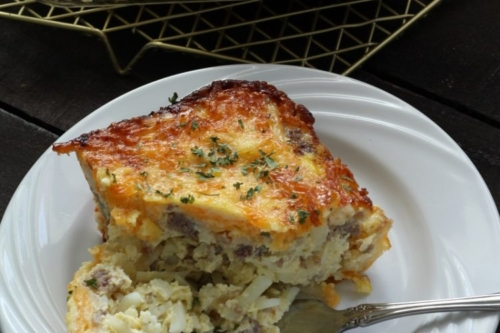 a portion of Best Egg Casserole on a plate