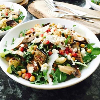 Cauliflower, Aubergine and Chickpeas Salad