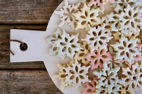 sugar cookies on a cutting board