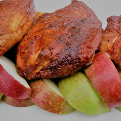 Grilled Chicken Breast Dipped in Apple Cider Pepper Sauce