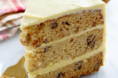 one slice of Maple Pecan Layer Cake