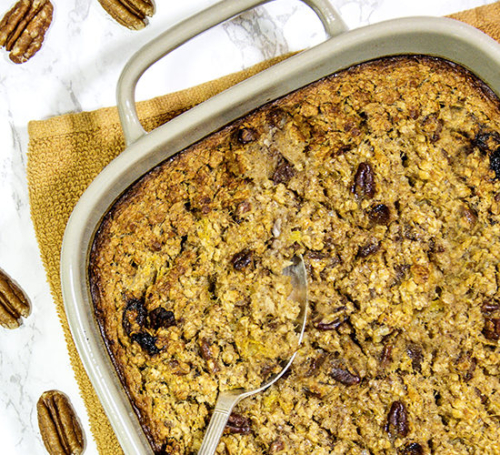 Pumpkin Spiced Baked Oatmeal in a baking dish
