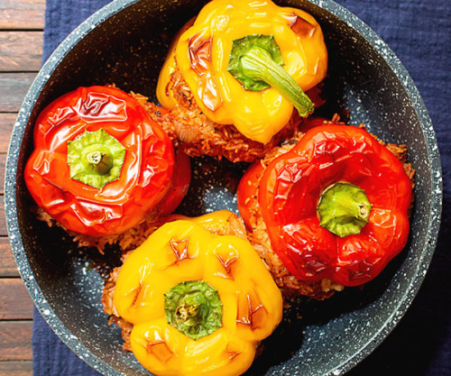 Vegan Stuffed Peppers with Rice in a bowl