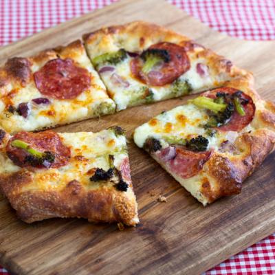 Broccoli, Salami and Red Onion Pizza
