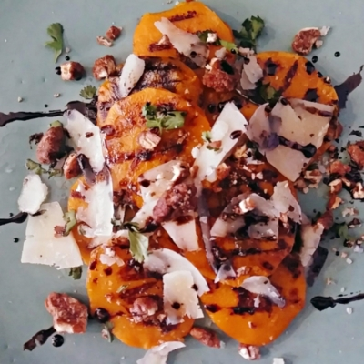 Grilled Butternut Squash with Candied Pecans and Manchego