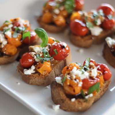 Cherry Tomato Goat Cheese Crostini