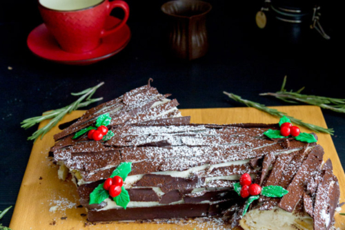 Christmas Eggnog Yule Log Cake
