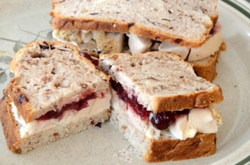 turkey sandwiches on a platter