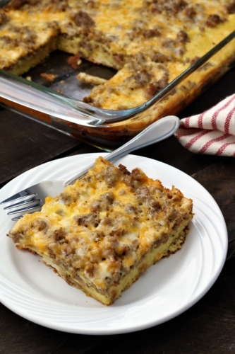 breakfast casserole slice on a plate