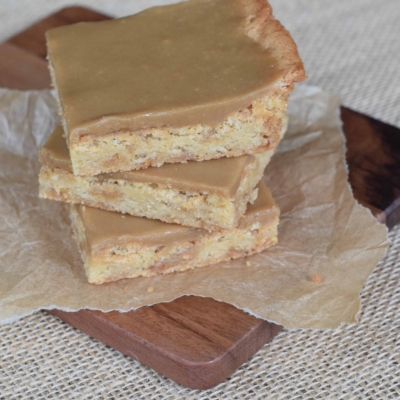 Toffee Blonde Brownies with Cheater Caramel Icing