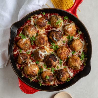 Mozzarella-Stuffed Chicken Parmesan Meatballs