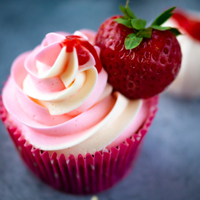Strawberry Cupcakes with Swiss Meringue Buttercream