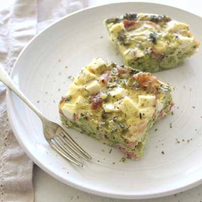 Bacon Broccoli And Feta Crustless Quiche