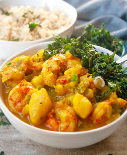 Curry Shrimp with Crispy Kale