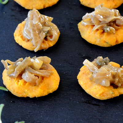 Sweet Potato and Sherried Onion Bites