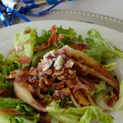 Grilled Pear Salad with Blue Cheese and Port Vinaigrette