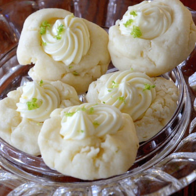 Shortbread Cookies with Lime Cream Cheese Icing