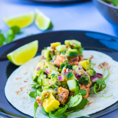 Salmon Tacos with Ginger Avocado Salsa