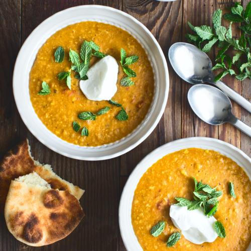 2 bowls of lentil soup