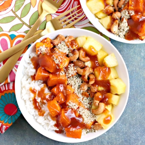 rice, sweetpotato and pineapple chunks over rice