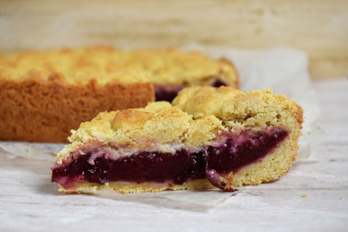 a slice of plum shortcake