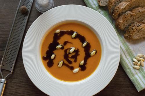 a bowl of pumpkin soup